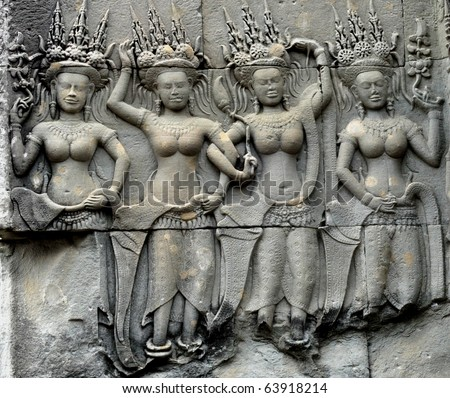 detail of stone carvings in angkor wat,cambodia. - stock photo