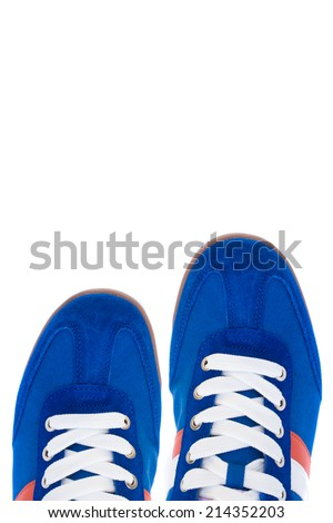 detail of street shoes - top view isolated on white - stock photo