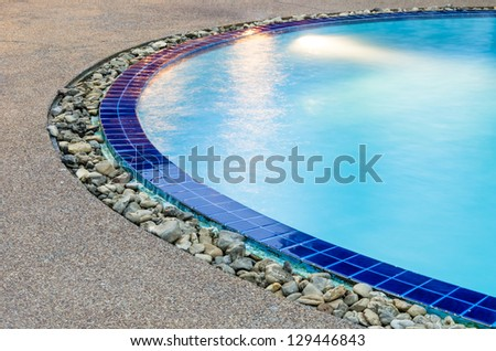 Detail  of Swimming Pool - Clear Blue Water - stock photo