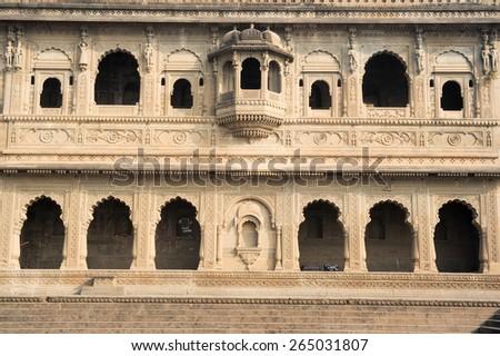 Detail of temple palace at Maheshwar on India - stock photo