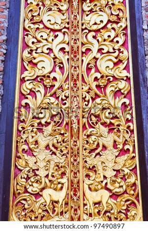 Detail of temple's door - stock photo