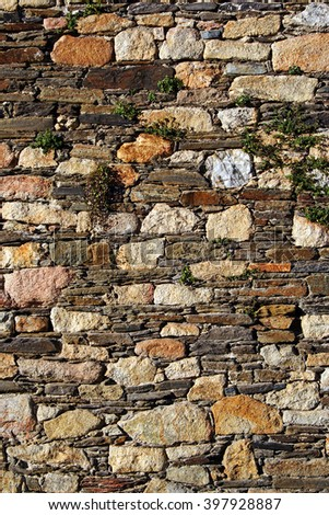 Detail of the ancient city walls of Lugo, Spain - UNESCO World Heritage Site - stock photo