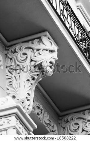 Detail of the Art Nouveau building facade (Old Town, Riga, Latvia) - stock photo