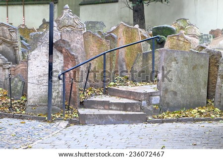Detail of the cemetery from the old Jewish Quarter (Josefov), Prague , Czech Republic - stock photo