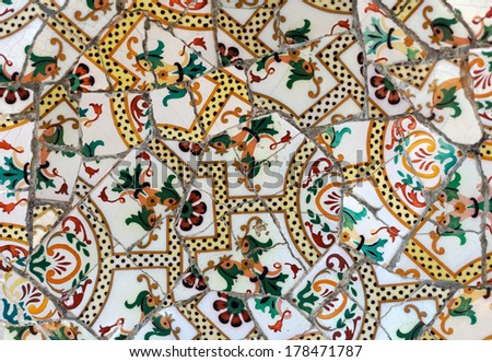 Detail of the ceramics from the Guadi in park Guell Barcelona, Spain. - stock photo