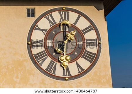 Detail Of The Clock Face Of Graz Clock Tower On The Schlossberg -  Graz, Styria, Austria, Europe - stock photo