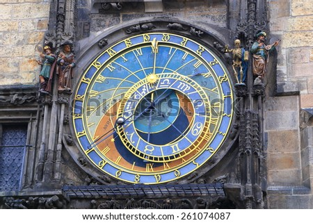 Detail of the colorful dial of Astronomical Clock, Prague Old Town, Czech Republic - stock photo