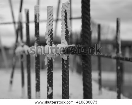 Detail of the construction work from a new bridge. Also in black and white a good example of what's necessary to build a safe construction. - stock photo
