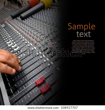Detail of the controls of an Audio Mixing Console - stock photo