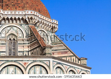 Detail of the cupola of the famous dome Santa Maria del Fiore in Florence, Italy - stock photo