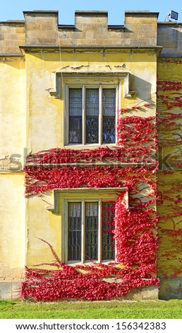 Detail of the facade - Castle Hradek u Nechanic near Hradec Kralove in Czech republic - stock photo