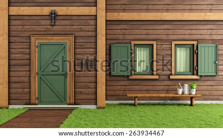 Detail of the facade of a wooden house with entrance door and two windows - 3d Rendering - stock photo