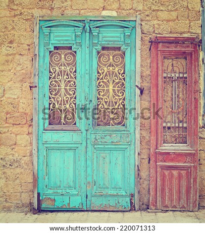 Detail of the Facade with Two Doors in Jaffa, Israel, Instagram Effect - stock photo