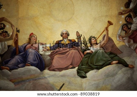 Detail of the fresco The Apotheosis of Washington adorns the interior of the dome of the U.S. Capitol building in Washington, D.C.  It was painted by Constantino Brumidi. - stock photo