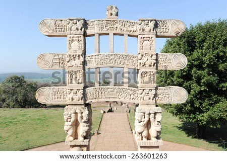 Detail of the gate at Great Buddhist Stupa in Sanchi, Madhya Pradesh, India - stock photo