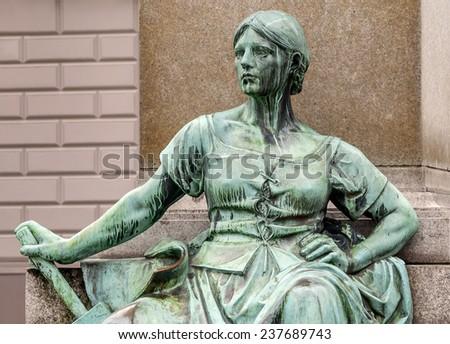 Detail of the historic Bismarck memorial in Dusseldorf in Germany - stock photo