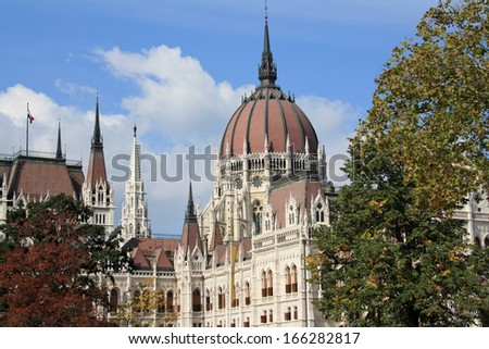 Detail of the Hungarian Parliament building - stock photo