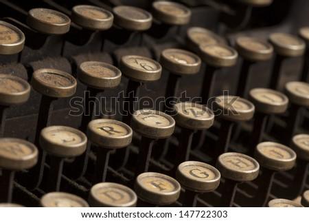 Detail of the keyboard of a vintage typewriter - stock photo