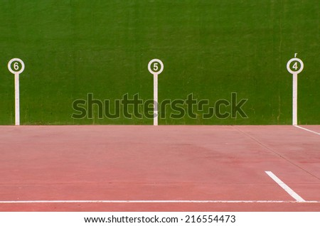 Detail of the marks in an fronton court. Jai alai. basque ball - stock photo