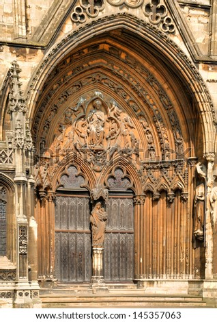 Detail of the Medieval door at the South East corner of Lincoln Cathedral. HDR. - stock photo