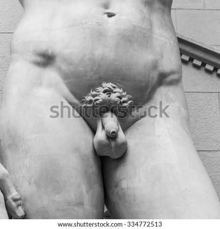 Detail of the Michelangelo's statue of David. - stock photo