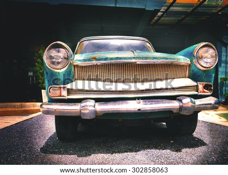 Detail of the old car in vintage image. - stock photo