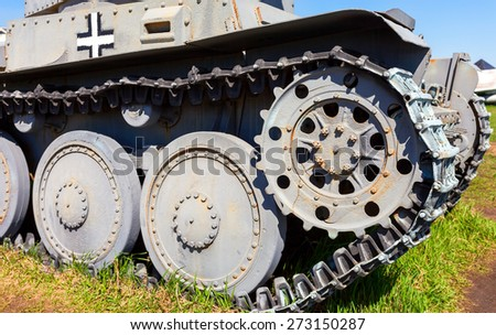 Detail of the old German armored light tank - stock photo
