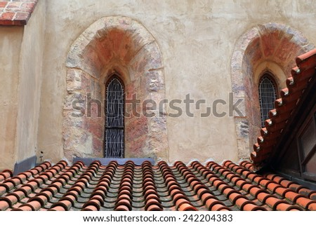 Detail of the Old New Synagogue built in Gothic style in the old Jewish Quarter (Josefov), Prague , Czech Republic - stock photo