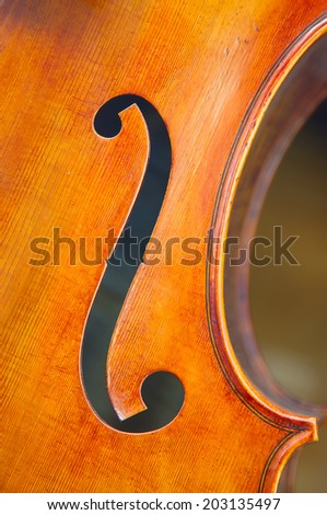 Detail of the old violin - stock photo