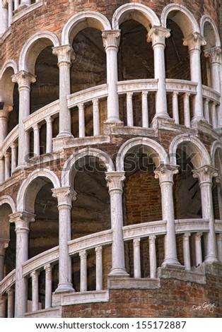 Detail of the Palace Contarini del Bovolo, Venice, Italy.  - stock photo