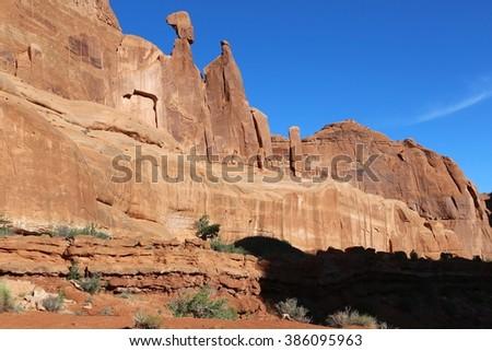 detail of the park avenue  at arches national park Utah USA - stock photo