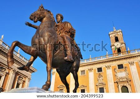 detail of the Piazza del Campidoglio, in the Capitoline Hill, in Rome, Italy - stock photo