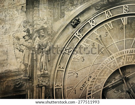 Detail of the Prague Astronomical Clock  in the Old Town of Prague ,  vintage image - stock photo
