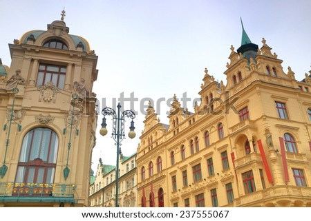 Detail of the Prague streets with Municipal House in overcast day, Prague, Czech Republic - stock photo