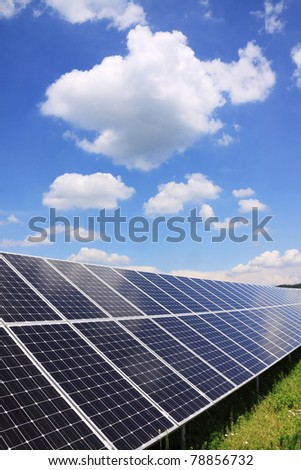 Detail of the Solar Power Station in the green spring Nature - stock photo