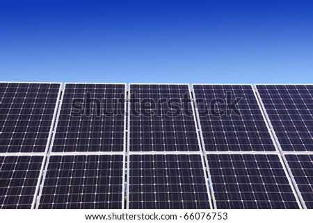 Detail of the Solar Power Station with blue Sky - stock photo