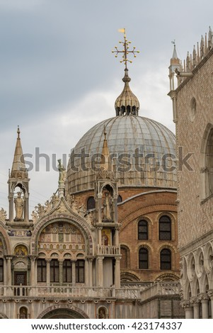 detail of the St Marks Basilica in Venice, Italy - stock photo