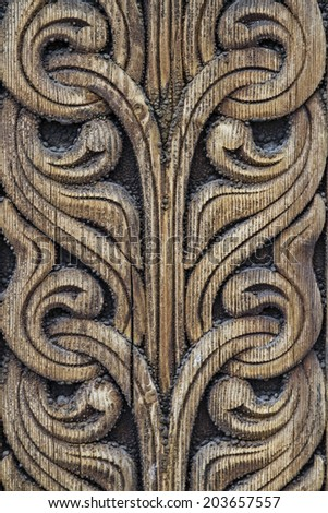 Detail of the stave church in Heddal  - stock photo