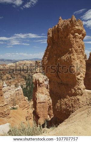 Detail of the stunning natural landscape of Bryce Canyon National Park, Utah, USA. - stock photo
