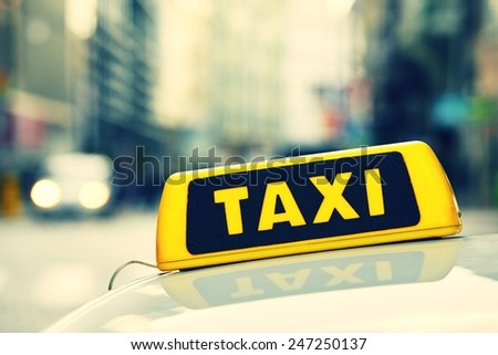 Detail of the taxi car on the street  - stock photo
