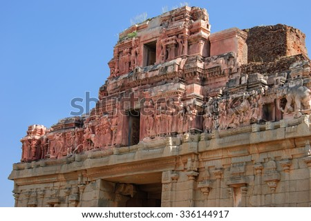 Detail of the temple of Bala Krishna at Hampi, Karnataka, India.  - stock photo
