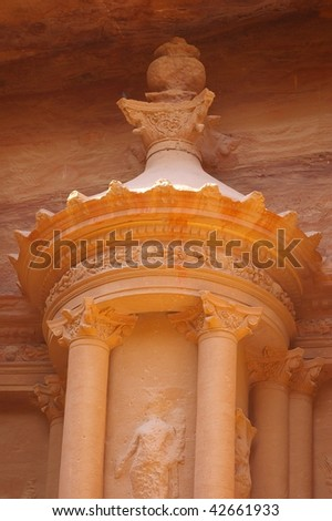 Detail of the treasury building Petra wadi rum Jordan - stock photo