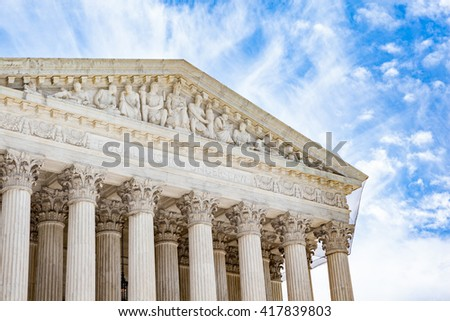 Detail of the United States Supreme Court building in Washington, DC - stock photo