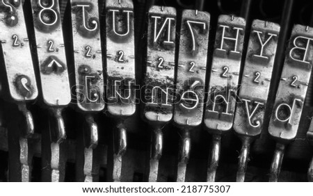 Detail of the very old mechanical typewriter - stock photo