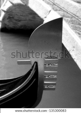 Detail of traditional venice boat: the Gondola. - stock photo