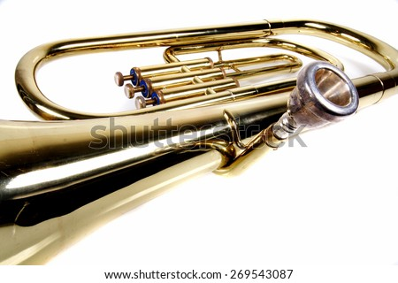 Detail of trombone mouthpiece - stock photo