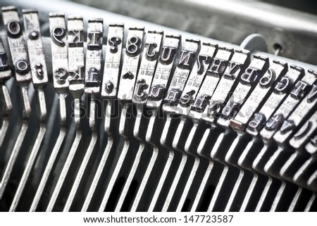 detail of type bars of typewriter - stock photo