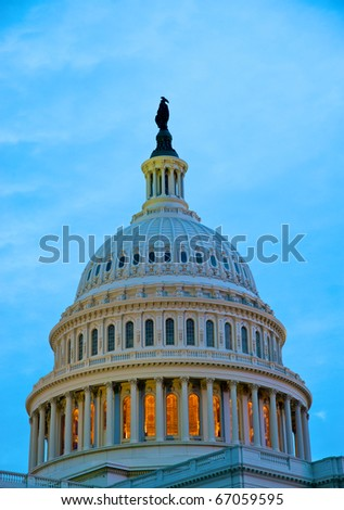 Detail of US Capitol dome at twilight - stock photo