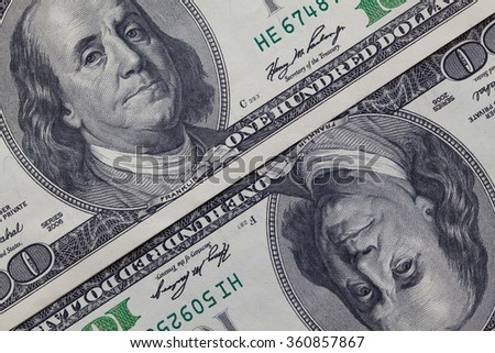 Detail of US dollar banknotes - stock photo
