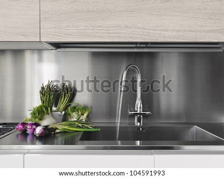 detail of vegetables near to steel faucet in a modern kitchen - stock photo